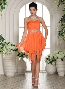 Orange Strapless Asymmetrical Ruched Beaded Homecoming Dress for Junior