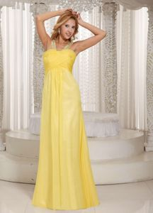 Simple Light Yellow Straps Floor-Length Criss Cross Ruched Homecoming Dress