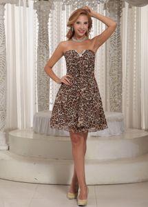 Strapless Mini-Length Leopard Homecoming Cocktail Dress with Slot Neckline
