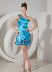 Sky Blue One-Shoulder Short-Length Homecoming Dress for Junior with Appliques