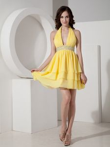 Yellow Mini-Length Halter Layered Homecoming Dress with Ruching and Beading