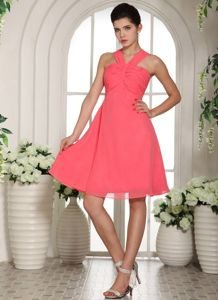 Peach Short-Length Halter A-Line Ruched Homecoming Dance Dress in Alabama