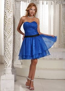 Royal Blue Short-Length Strapless Ruched Homecoming Dress with Black Belt
