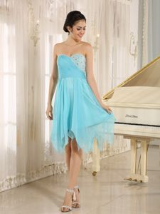 Blue Sweetheart Beaded Ruched Asymmetrical Homecoming Dress for Junior