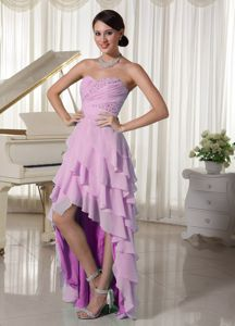 Light Purple Sweetheart Layered High-Low Beaded Ruched Homecoming Dress