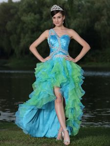 One-Shoulder High-Low Beaded Ruched Homecoming Princess Dress with Ruffles