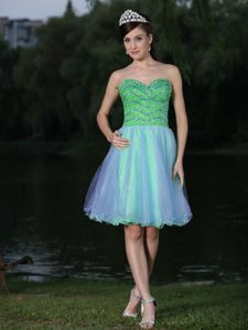 Knee-Length Sweetheart Multi-Colored Beaded Homecoming Cocktail Dress