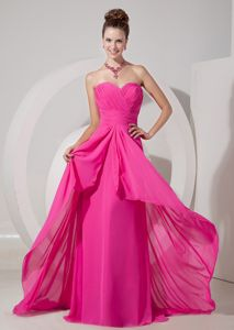 Fuchsia Sweetheart Brush Train Ruched Homecoming Dress for Junior in Idaho