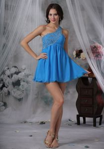Mini-Length Blue One-Shoulder Beaded Homecoming Dress with Cutout Back