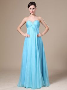 Sweetheart Blue Empire Floor-Length Ruched Beaded Junior Homecoming Dress