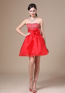 Red Mini-Length Beaded Homecoming Cocktail Dress with Hand-Made Flower