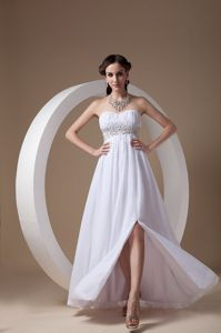 White Strapless Floor-Length Ruched Homecoming Dress with Appliques and Slit