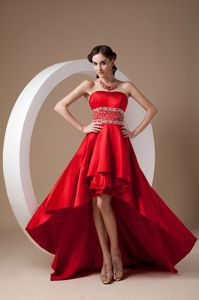 Strapless High-Low Beaded Celebrity Homecoming Dress in Hot Red in California