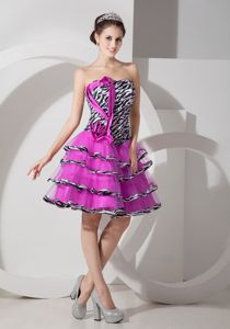 Fuchsia Zebra A-Line Strapless Layered Homecoming Dresses with Lace-up Back