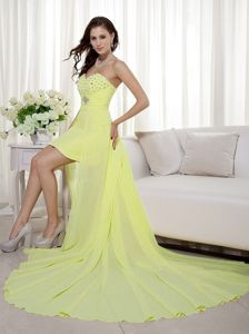 Light Yellow Beaded Sweetheart High-Low Court Train Junior Homecoming Dress