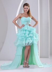 Apple Green Strapless Ruched Appliqued Homecoming Dance Dress with Ruffles