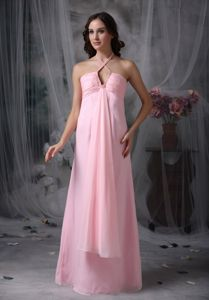 Halter Floor-Length Beaded Ruched Homecoming Dress for Junior with Slot Neckline