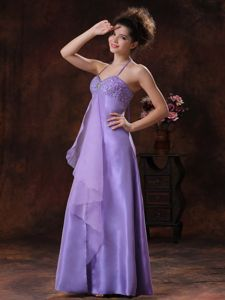 Lavender Halter Spaghetti Straps Sweetheart Homecoming Dress with Beading and Slit