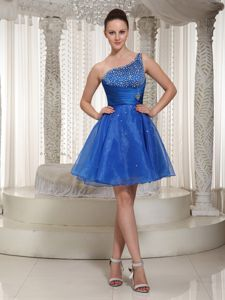 Royal Blue One-Shoulder Short-Length Ruched Beaded Junior Homecoming Dress