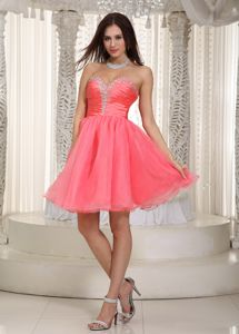 Watermelon Mini-Length Sweetheart Cute Homecoming Dress with Beading and Zip