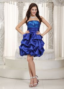 Royal Blue Strapless Mini-Length Sequin Homecoming Dress for Junior with Pick-ups