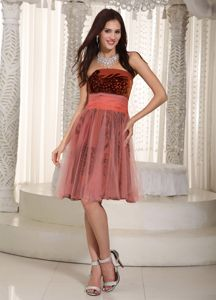Rust Red A-Line Knee-Length Printed Homecoming Dress with Belt and Lace-up Back