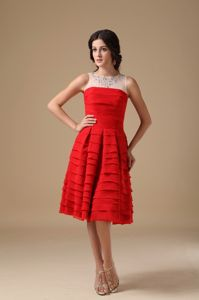 Red Scoop Sheer Straps Knee-Length Layered Homecoming Dress with Appliques
