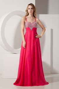 Hot Pink Floor-Length Spaghetti Straps Beaded Homecoming Dress with Zipper