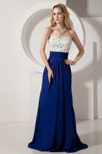 Sweetheart White and Royal Blue Homecoming Dress with Beading in Colorado