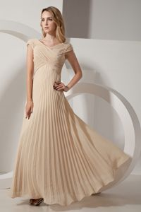 Champagne V-Neck Cap Criss Cross Ruched Homecoming Dresses with Pleats