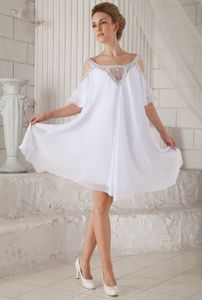 White Off-the-Shoulder Mini-Length Short-Sleeve Homecoming Dress with Cutouts