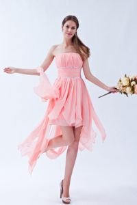 Strapless Peach Ruched Beaded Asymmetrical Homecoming Dresses for Junior