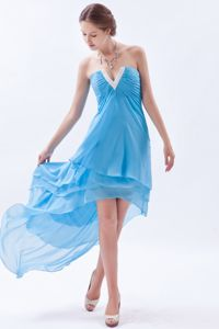 Blue Strapless High-Low Layered Ruched Homecoming Dress with Slot Neckline