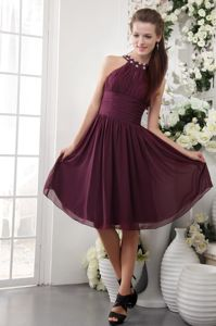 Burgundy High-Neck Knee-Length Beaded Ruched Homecoming Dress in Arizona