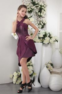 Dark Purple Straps Column Criss Cross Asymmetrical Simple Homecoming Dress