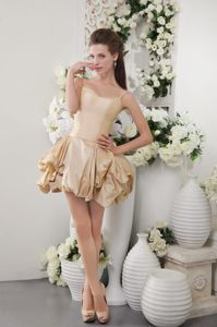 Mini-Length Spaghetti Straps Champagne Homecoming Queen Dress with Pick-ups