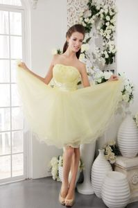 Light Yellow Mini-Length Homecoming Princess Dress with Appliques and Ruching