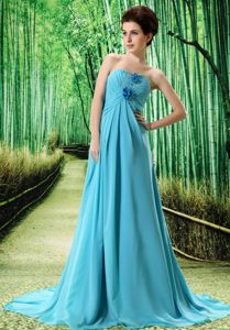 Aqua Blue Brush Train Appliqued Homecoming Dress with Flowers and Ruching