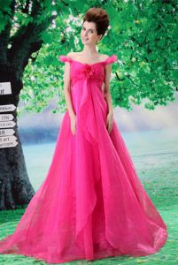 Fuchsia Off-the-Shoulder Brush Train Homecoming Dress with Ruching and Flower