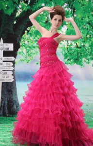 Beaded One-Shoulder Ruched Layered Homecoming Princess Dress with Ruffles