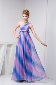 Multi-Colored One-Shoulder Beaded Empire Homecoming Dress with Flounce