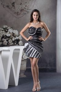 Mini-Length Black-White Stripe Strapless Homecoming Dress with Rolling Flower