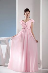 Pink V-Neck Cap Homecoming Princess Dresses with Beading and Ruching