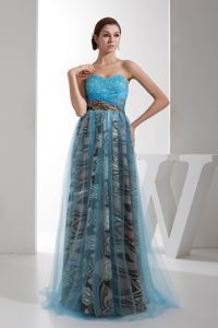 Sweetheart Floor-Length Homecoming Dress for Prom with Printing and Beading
