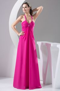 Floor-length Hot Pink Decorated Celebrity Homecoming Dress with Beadings from Mexico