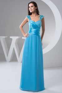Straps Blue Floor-length Evening Homecoming Dress with Ruches and Beading in Craig