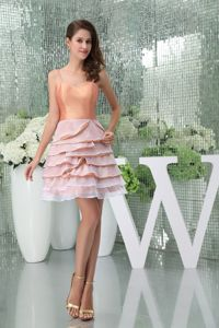 Spaghetti Straps Ruffle-layers Peach Colored Sparkly Homecoming Dresses in Mini in Flint