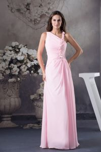 Cute Column Venetian pearl One Shoulder long Homecoming Dresses in Pink in Craig