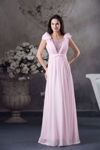 Empire Cap Sleeves Scoop Neck Evening Homecoming Dress With Long Beading in Craig