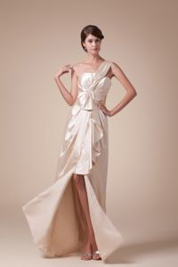 Hottest One Shoulder High Slit Column Inexpensive Homecoming Dresses in Long in Flint